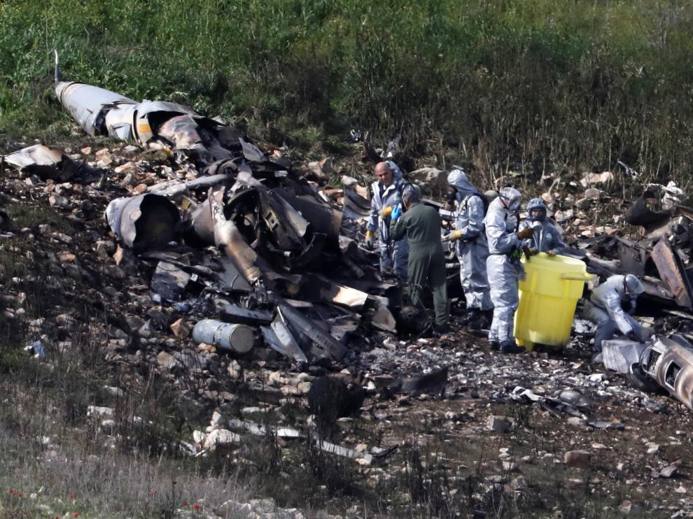 F-16 israelí derribado este sábado.