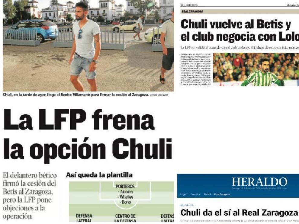 Informaciones de HERALDO DE ARAGÓN en los diferentes momentos en los que Chuli ha estado a punto de ser jugador del Real Zaragoza en los últimos 3 años.