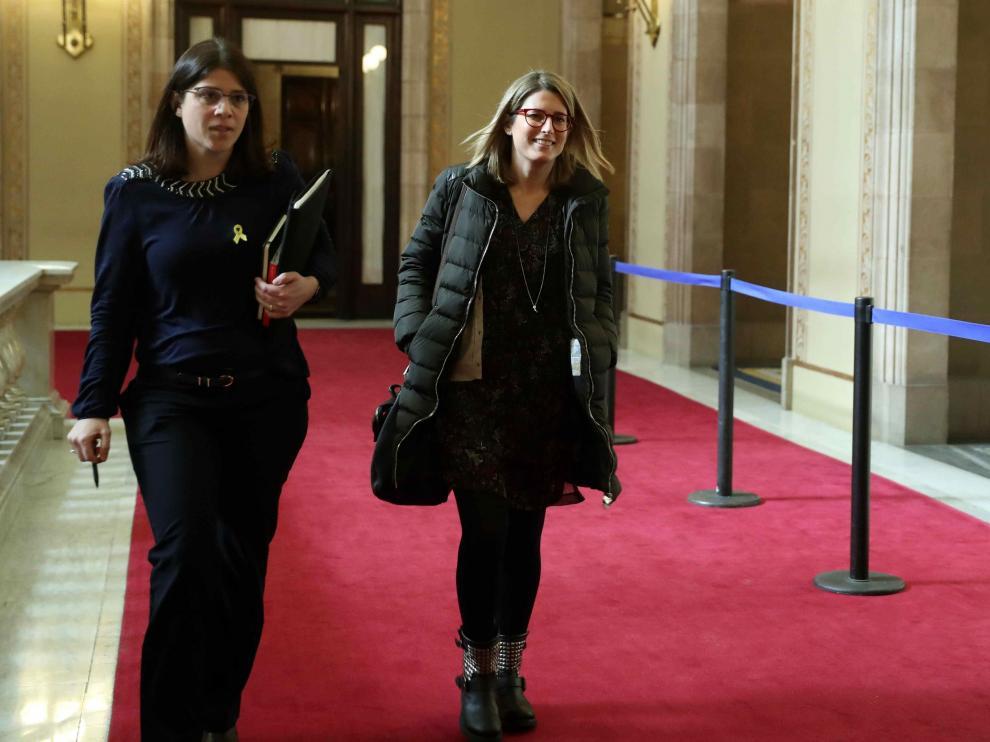 Elsa Artadi, a la derecha, con la también diputada de JxCat Gemma Geis, en una imagen de archivo en Barcelona.