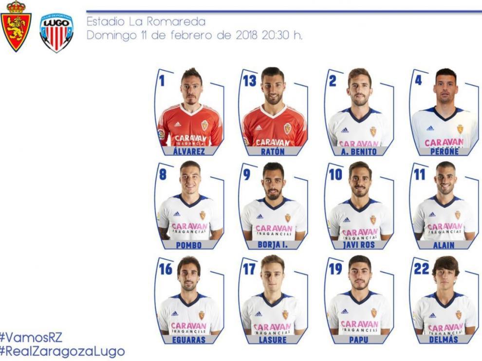 Lista de 18 convocados por Natxo para el partido ante el Lugo.