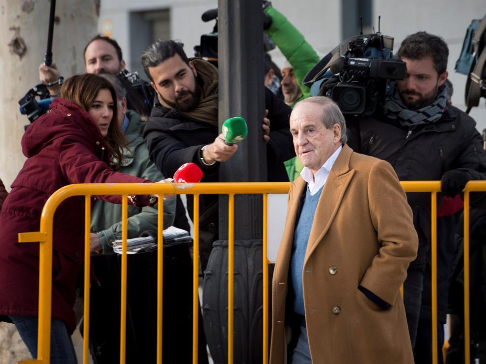 José María García a su llegada este lunes a la Audiencia Nacional de Madrid.