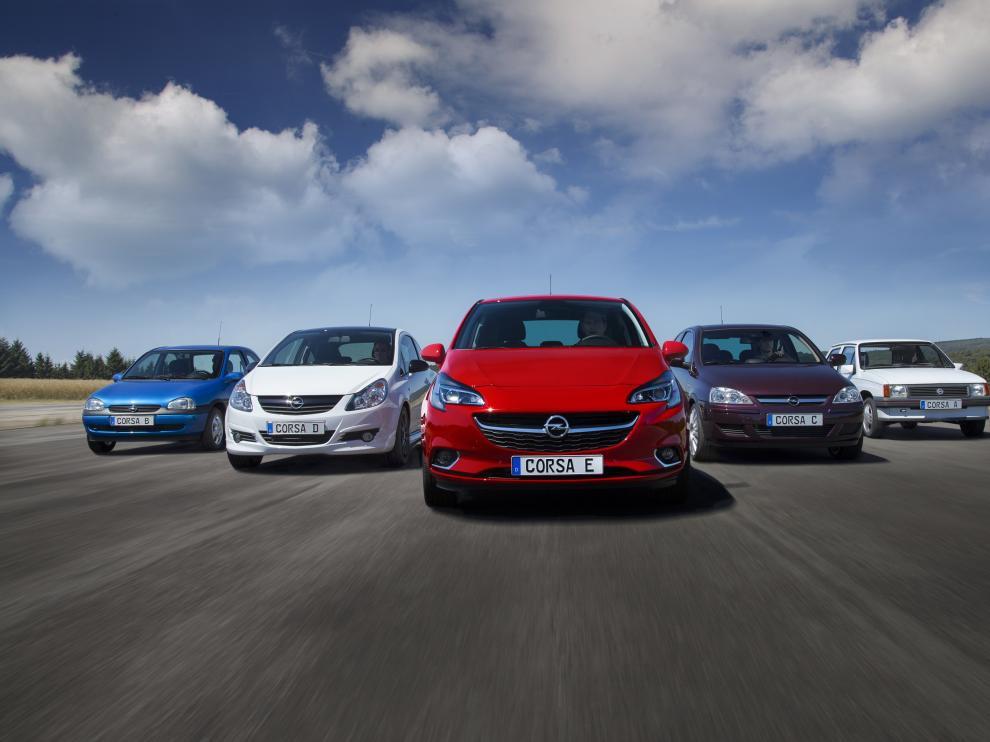 Las cinco generaciones del Opel Corsa se han producido desde sus inicios en 1982 en la planta de Figueruelas, Zaragoza