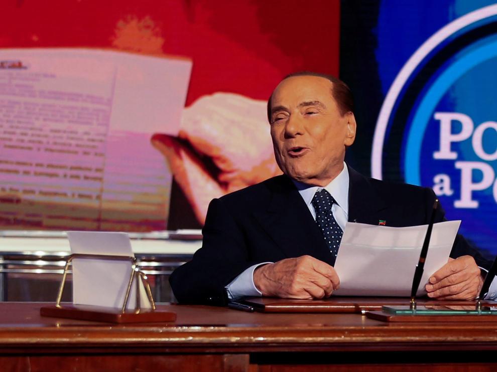 Berlusconi en el programa 'Porta a Porta'de la televisión pública RAI
