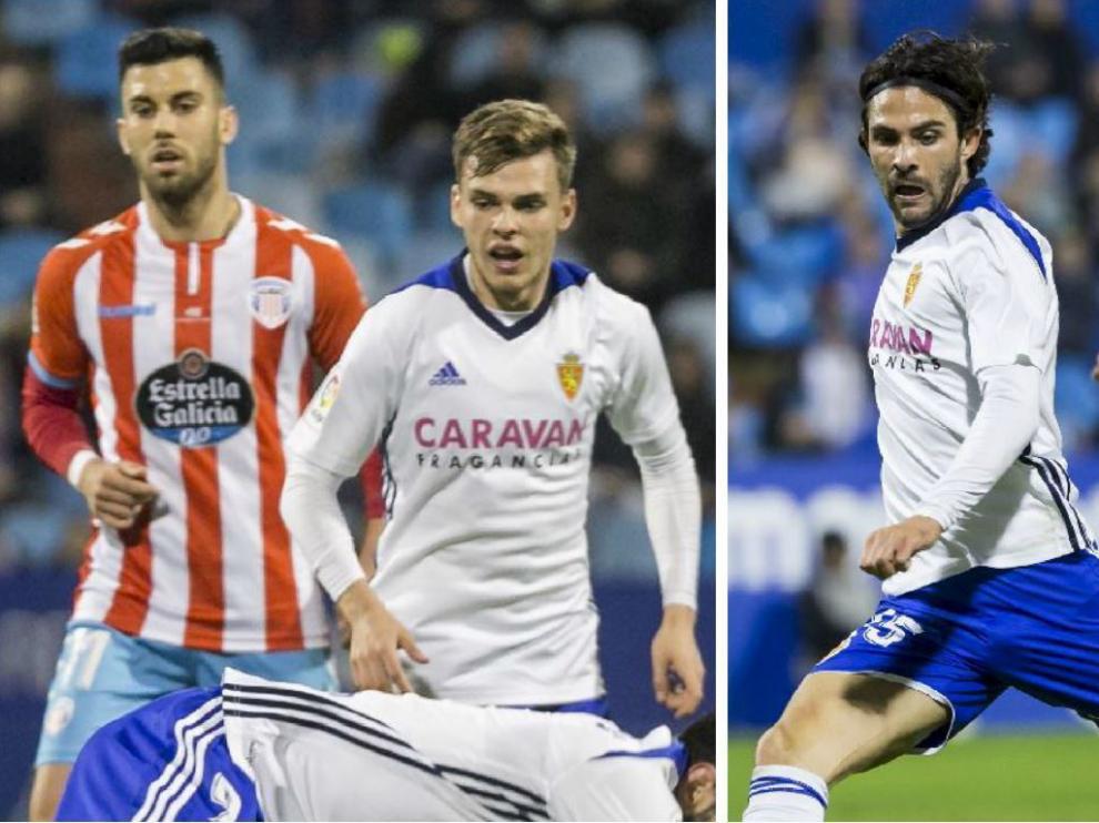 Febas y Buff, el pasado domingo en dos jugadas del partido Real Zaragoza-Lugo.