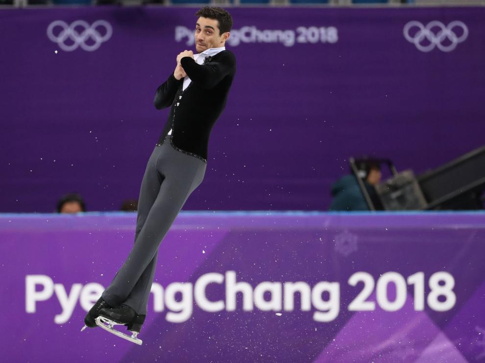 Javier Fernández en la prueba de patinaje artístico de los Juegos Olímpicos de PyeongChang