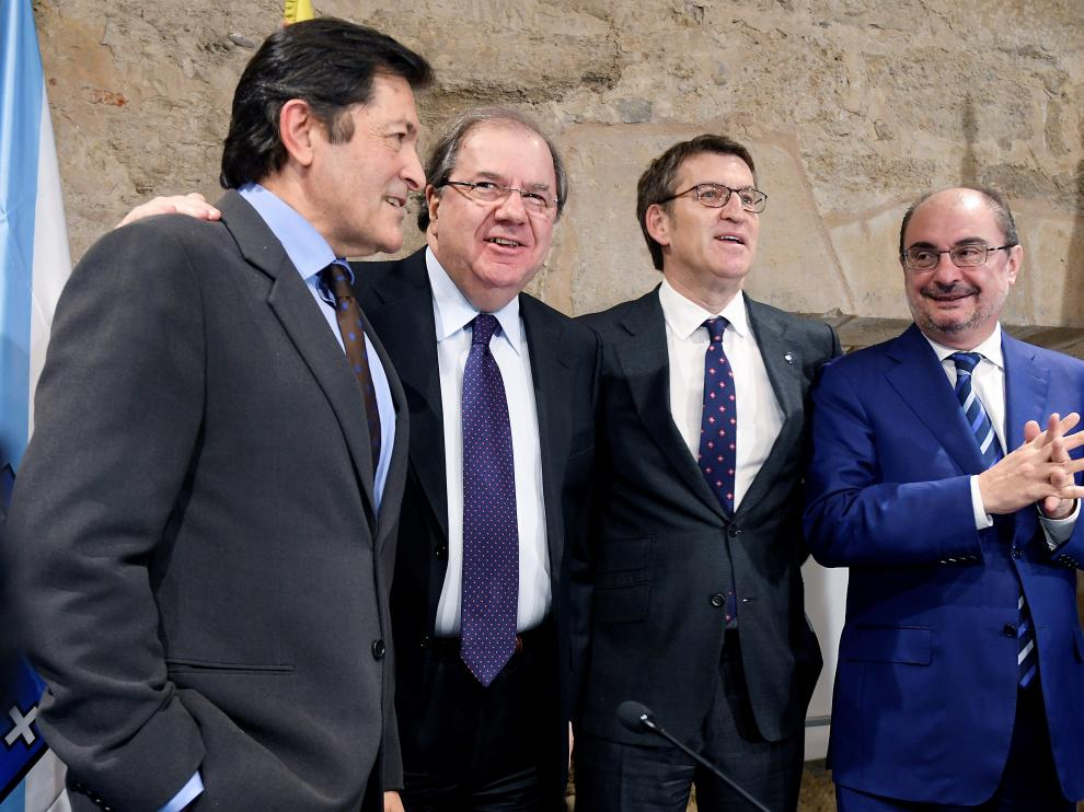 Vicente Herrera, Alberto Núñez Feijoo, Javier Fernández y Javier Lambán