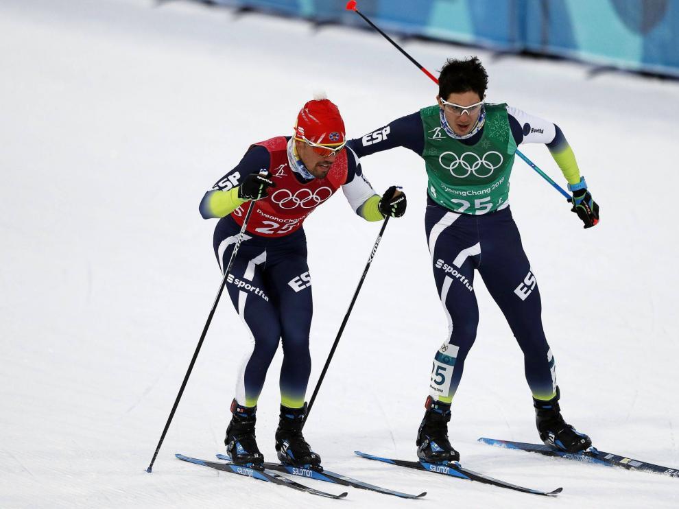 Martí Vigo, de verde, junto a Imanol Rojo en la prueba de este miércoles.