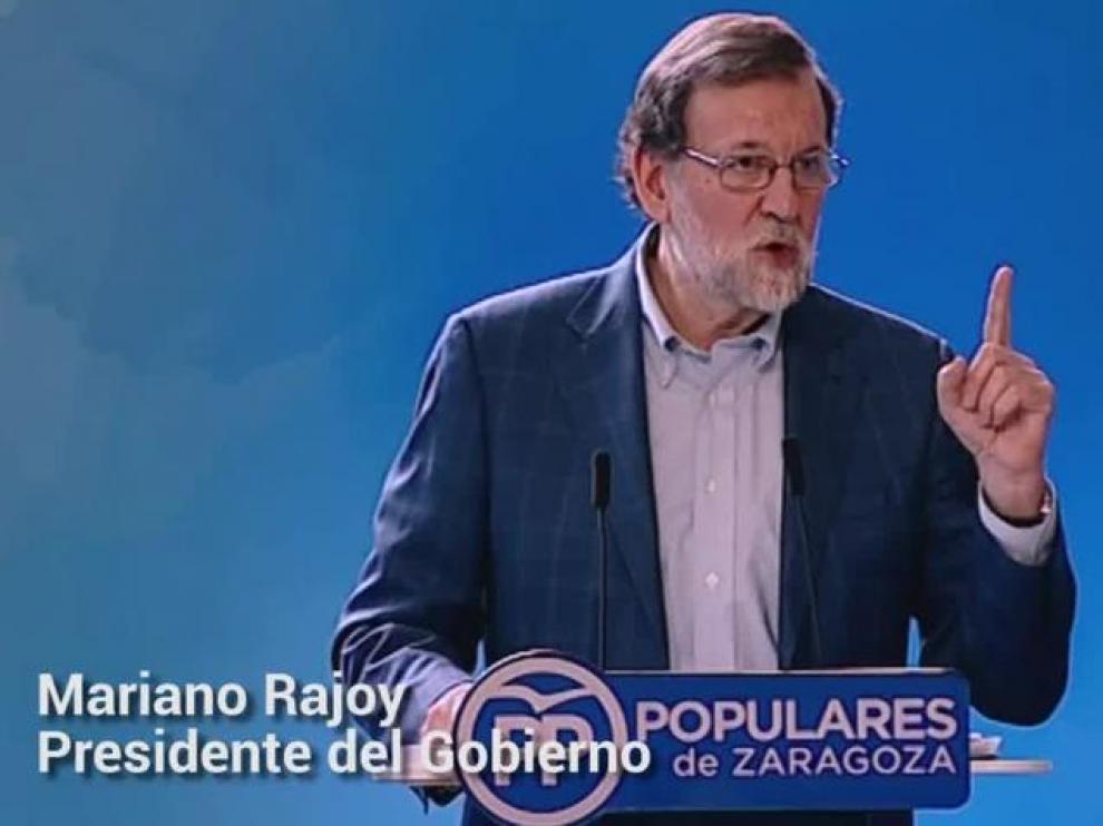 """Mariano Rajoy: """"Ese nuevo tren va a parar en la ciudad de Zaragoza"""""""