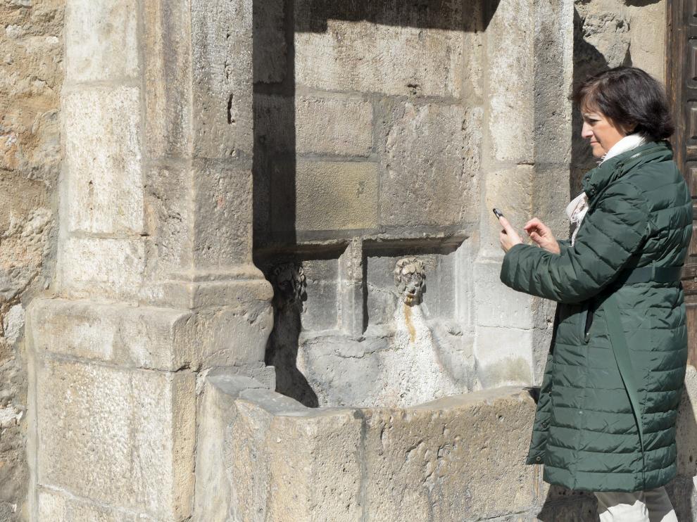 La histórica fuente de la plaza de la Catedral, seca desde octubre.
