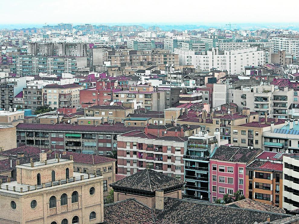 Vista aérea del casco urbano de Zaragoza