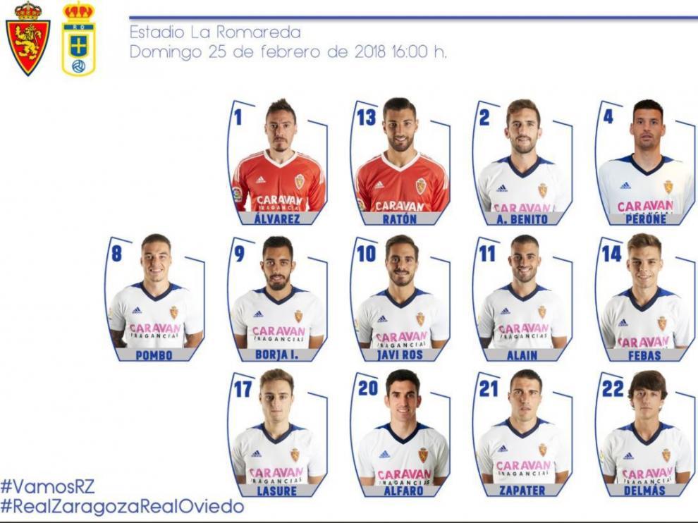 Lista de los 19 citados por Natxo para el Real Zaragoza-Real Oviedo de este domingo.