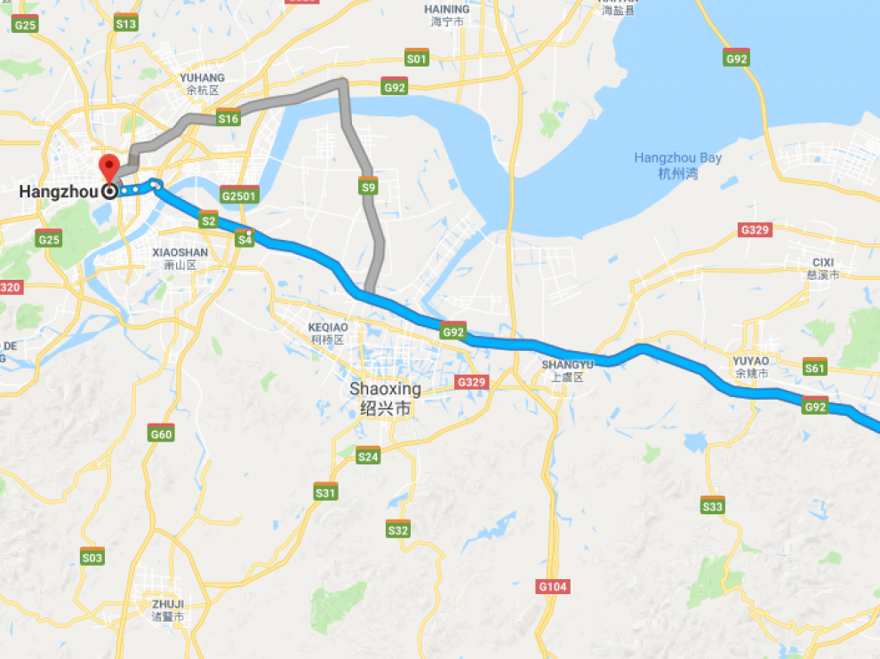 La distancia entre Hangzhou  y Ningbo, China