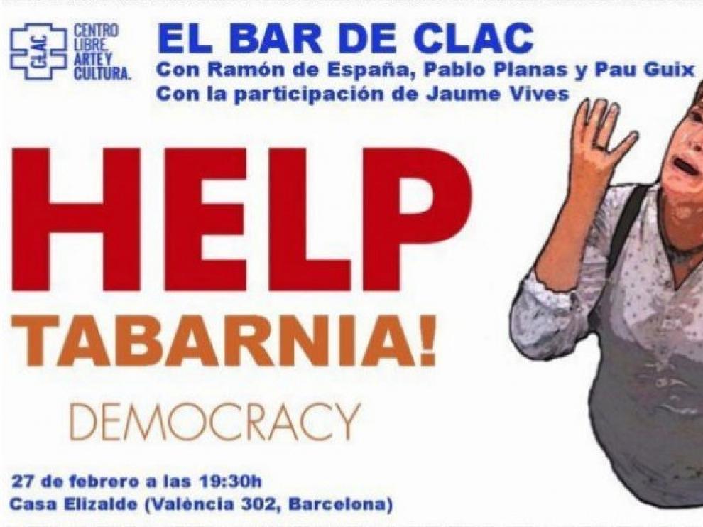 El cartel que anunciaba el acto de Tabarnia en el centro cívico Casa Elizalde de Barcelona.
