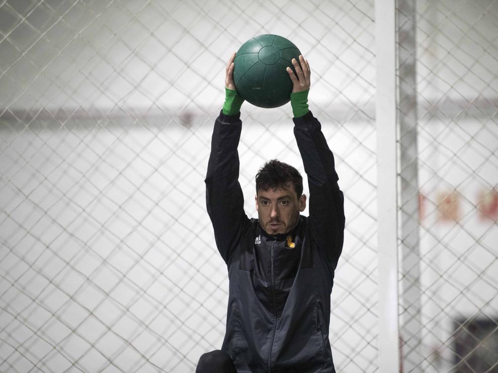 Álvarez, durante la sesión indoor motivada por la nieve