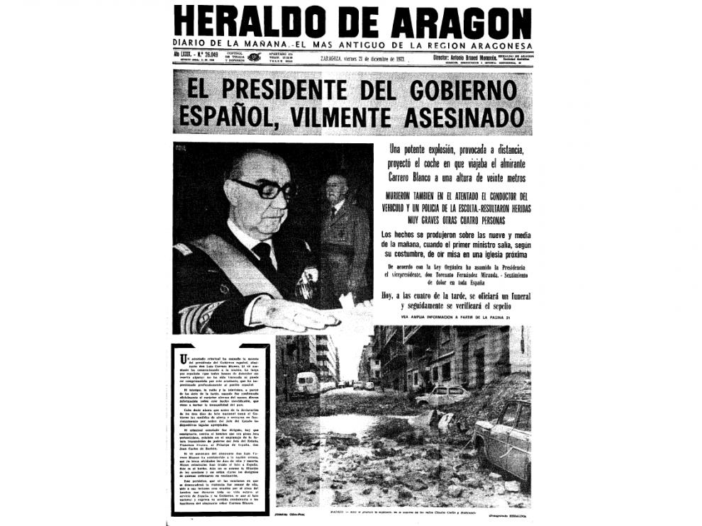 Portada de HERALDO el 21 de diciembre de 1973, el día posterior al asesinato de Carrero Blanco.