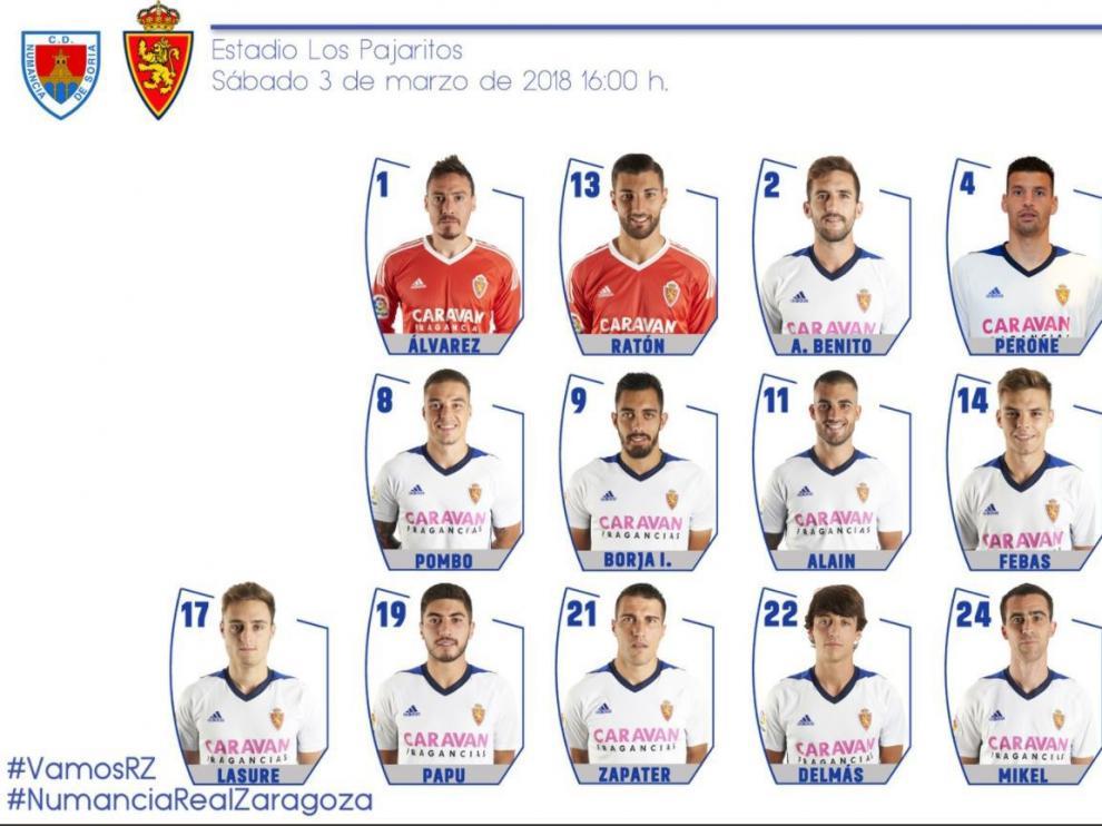 Lista de 19 citados del Real Zaragoza para el partido ante el Numancia en Soria.