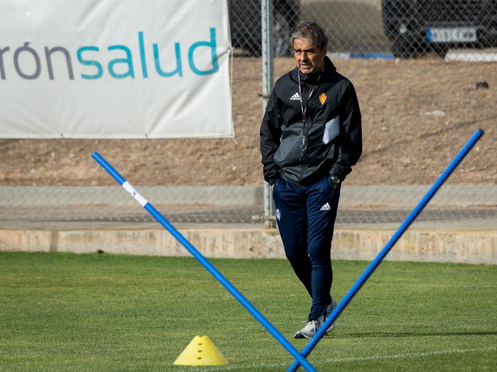 Natxo González, en un entrenamiento del Real Zaragoza.