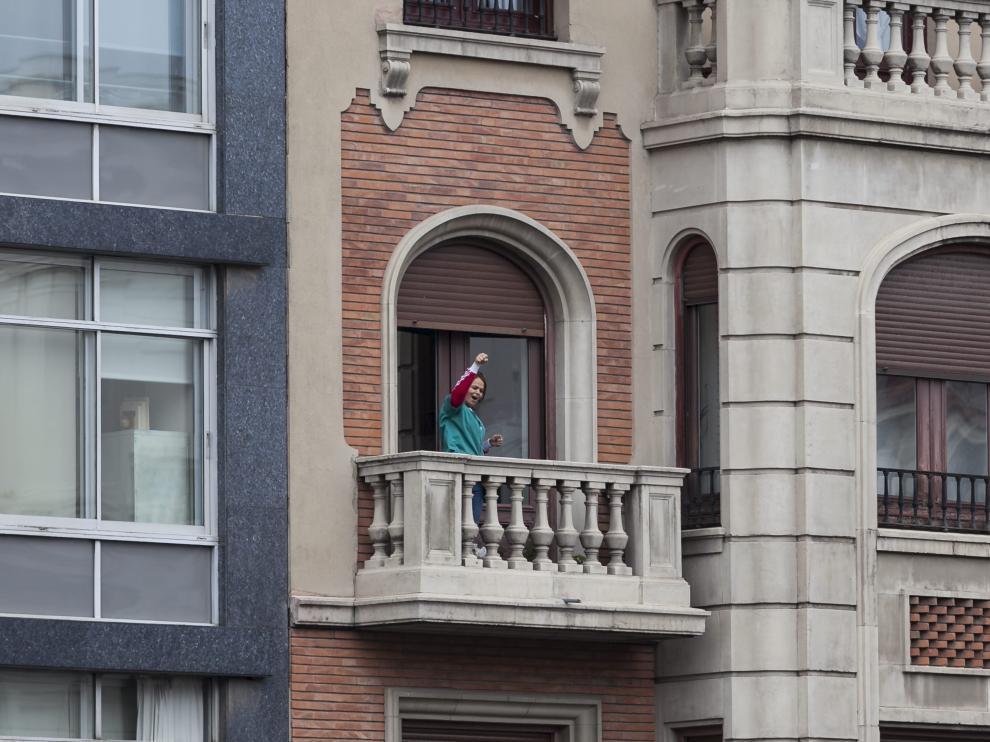 Una limpiadora provoca una ovación en la manifestación del 8M en Zaragoza