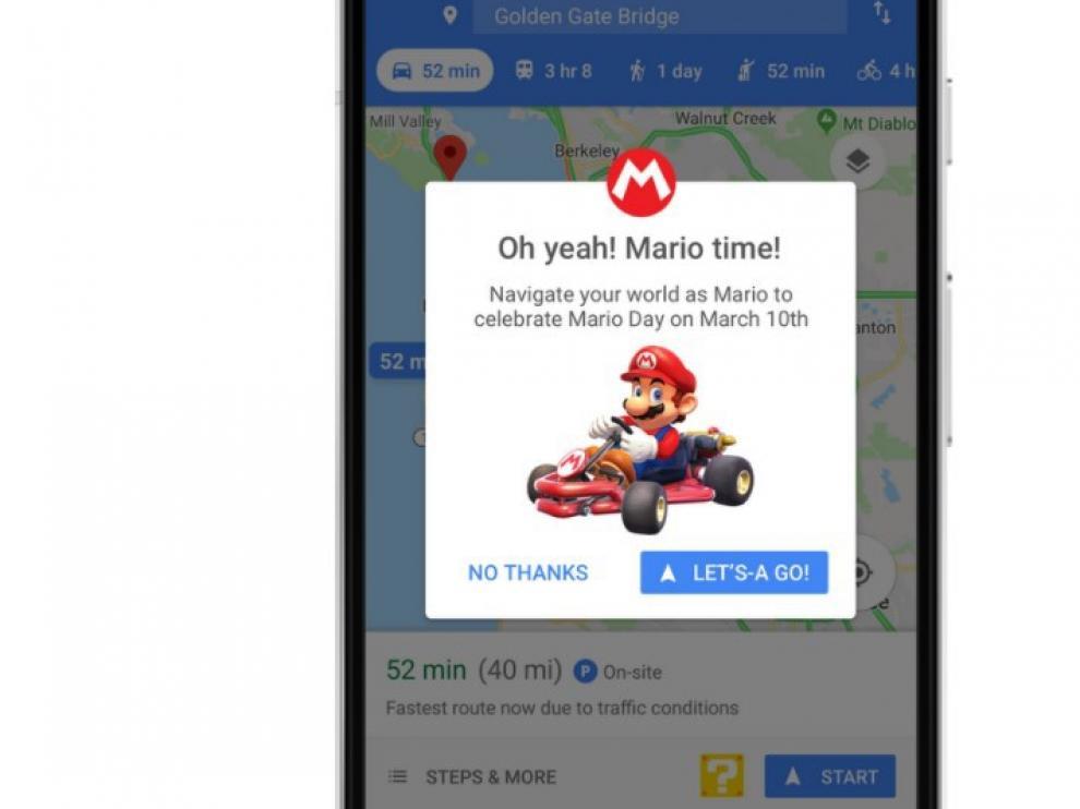 Super Mario y su kart salen a conocer mundo en Google Maps.