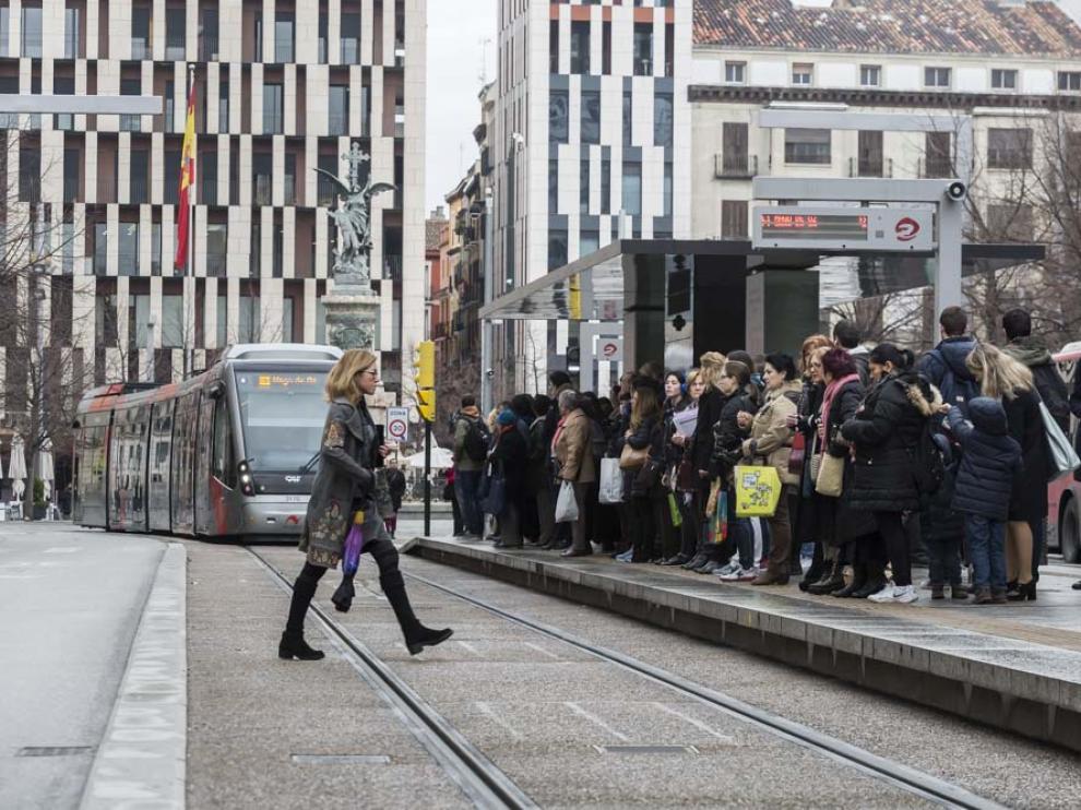Huelga de conductores de tranvía en Zaragoza
