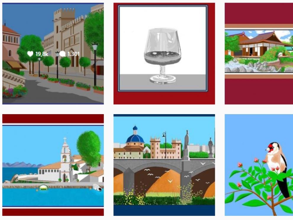 Algunas de las obras hechas con 'Paint' del Instagram de Concha García.