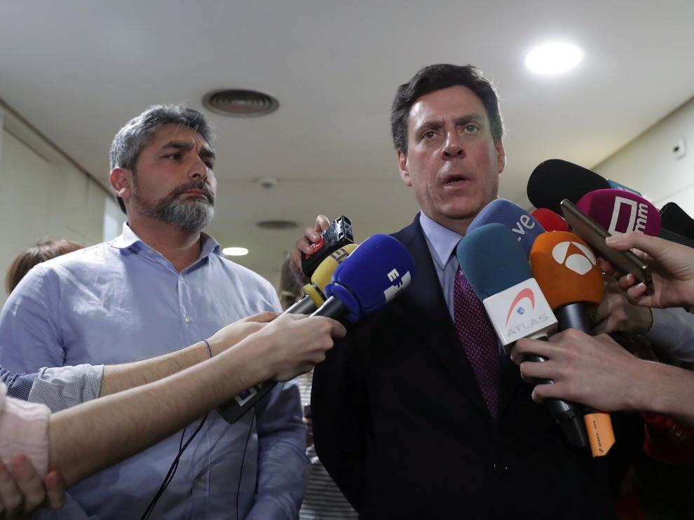 Juan José Cortés y Juan Carlos Quer en una comparecencia el pasado 9 de marzo.