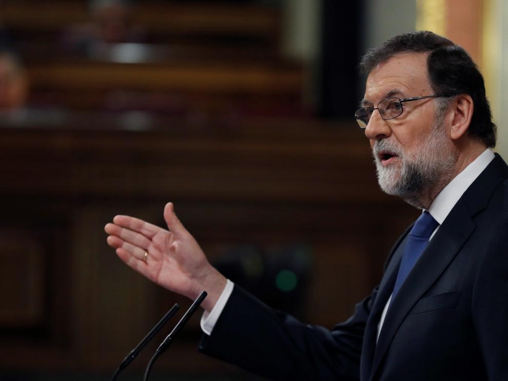 Rajoy durente su comparecencia este miércoles en el Congreso.