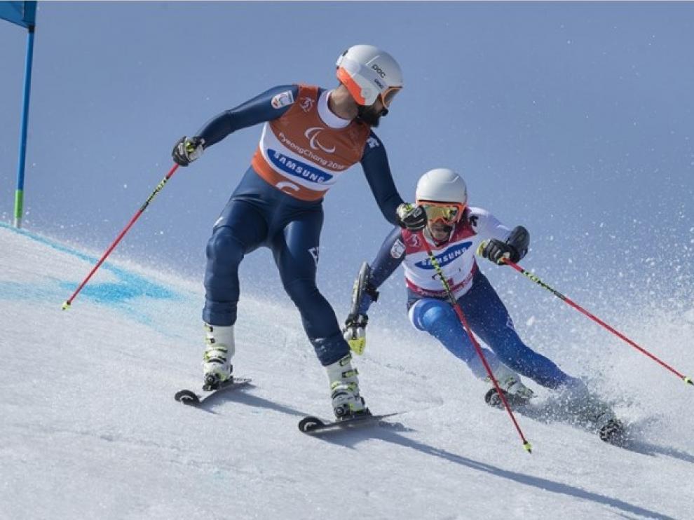 Santacana y Galindo, este martes en la prueba Gigante de los Juegos Paralímpicos.