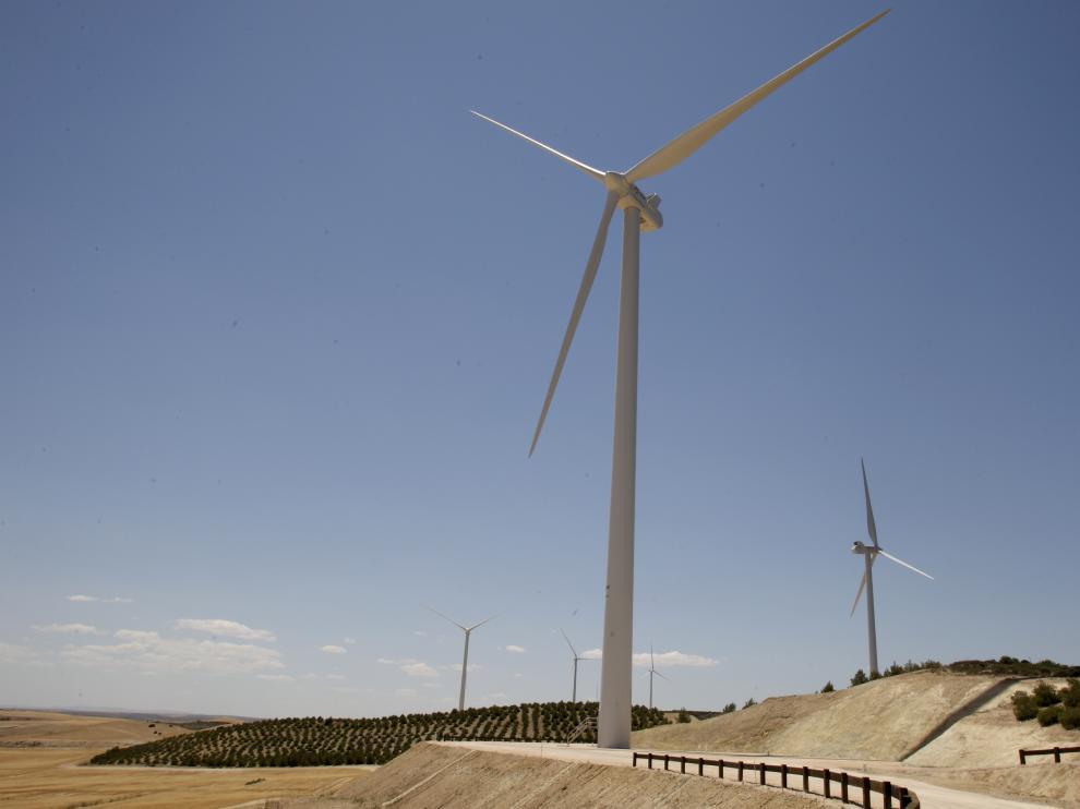 Uno de los parques eólicos en explotación en Aragón.