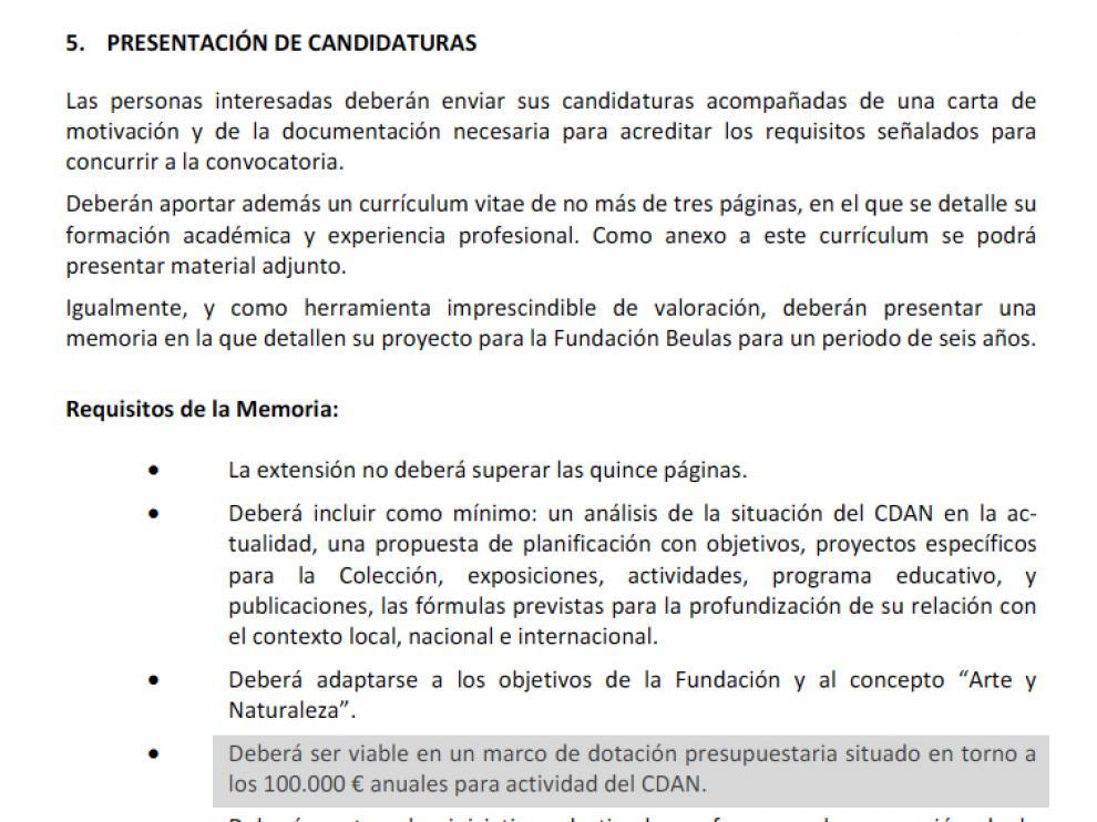 Extracto de los requisitos que tenía que cumplir el proyecto para optar a la dirección del centro