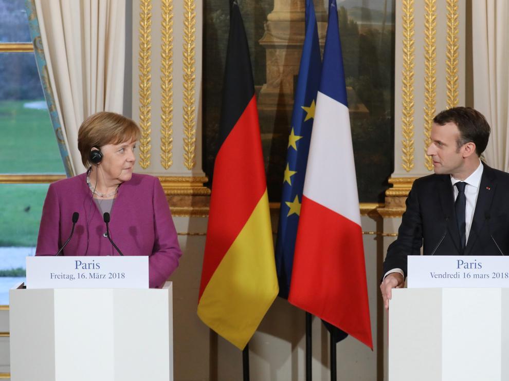Angela Merkel y Emmanuel Macron en el Palacio del Elíseo.