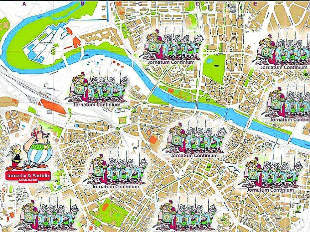 Mapa de Zaragoza 'conquistada' por Astérix.