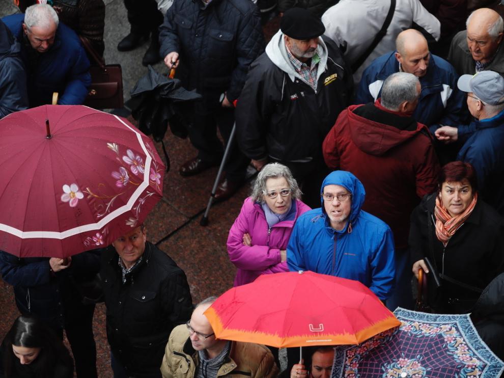 Una manifestación de pensionistas en Zaragoza, hace unas semanas, para reclamar la subida de las pensiones.