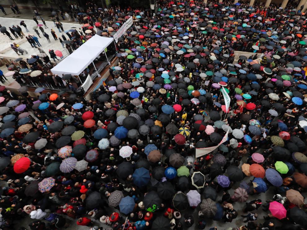 Manifestación de pensionistas en Zaragoza.