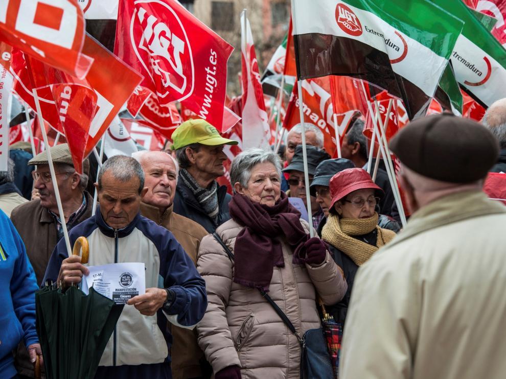 Foto de archivo de una concentración para pedir mejores pensiones.