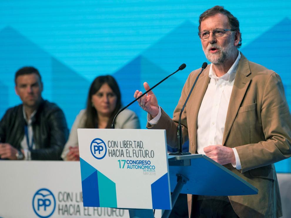 Mariano Rajoy durante su intervención en el congreso del partido en Murcia