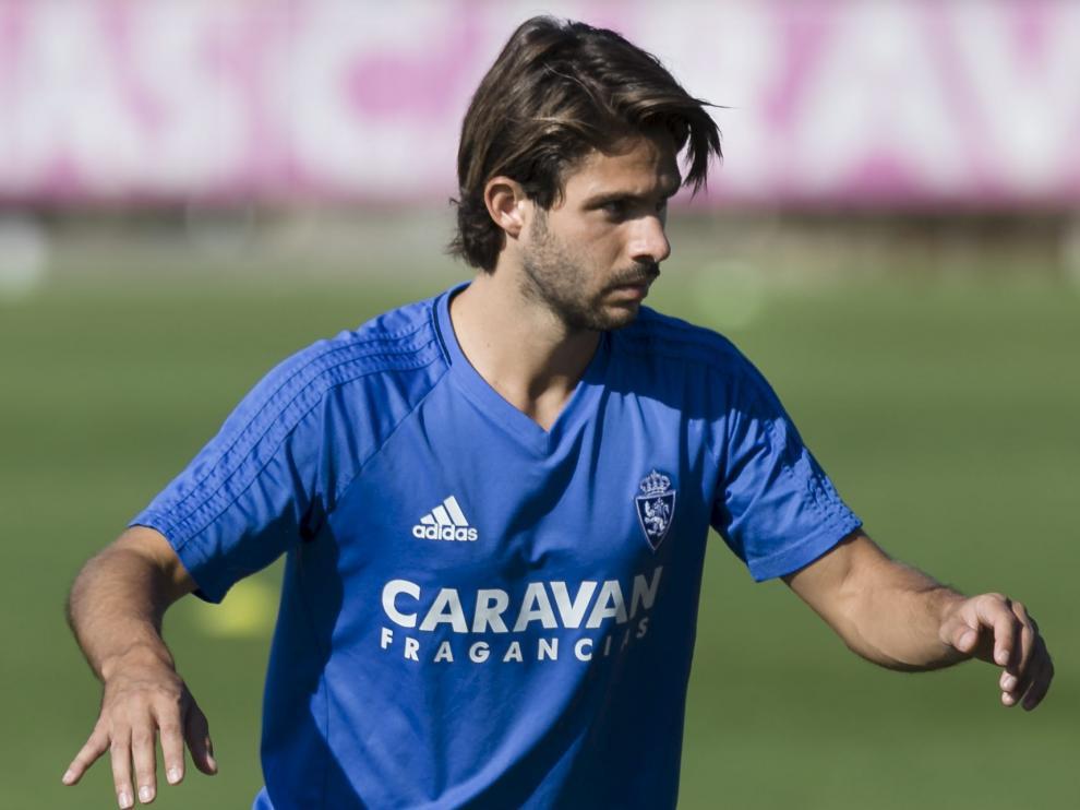 Buff, en un entrenamiento del Real Zaragoza