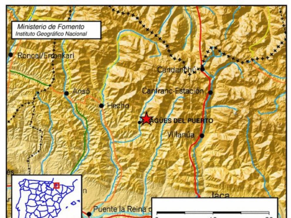 Localización del terremoto por parte del Instituto Geográfico Nacional.