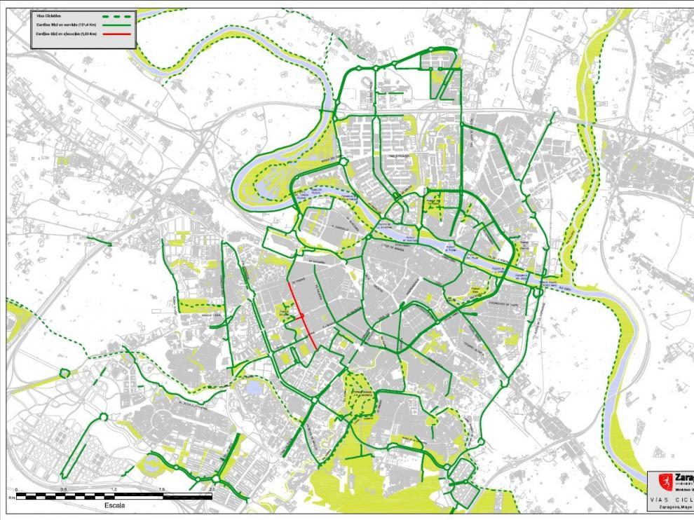 Mapa de los carriles bici de Zaragoza