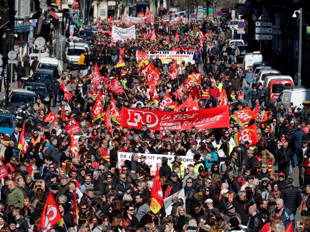 Protestas en la ciudad de Marsella.