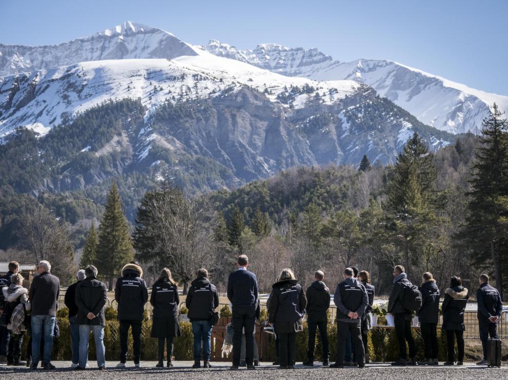 Homenaje a los fallecidos en los Alpes franceses en el tercer aniversario del siniestro de Germanwings.