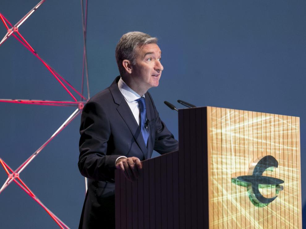 Víctor Iglesias, consejero delegado de Ibercaja, en la presentación del Plan Estratégico 2018-2020 de la entidad, el pasado 18 de marzo