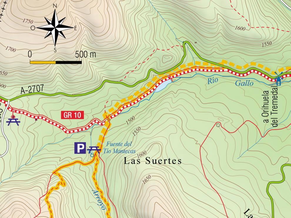 Mapa a Caimodorro.