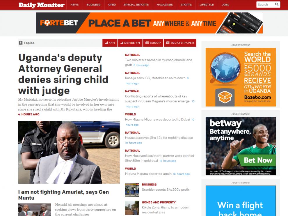 Edición digital del 'Daily Monitor'
