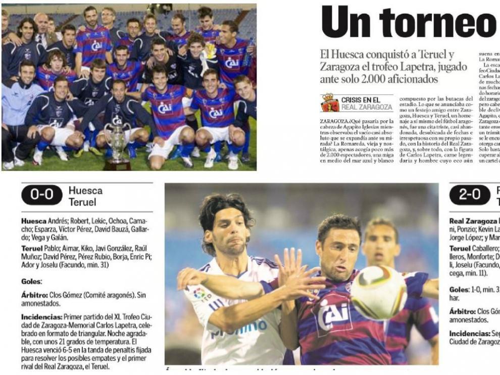 El equipo del Huesca que ganó 0-1 al Real Zaragoza en el 3x1 del Trofeo Ciudad de Zaragoza-Memorial Lapetra de 2010. Titular de la crónica de HERALDO DE ARAGÓN y fichas de los tres 'mini partidos' entre Zaragoza, Huesca y Teruel.