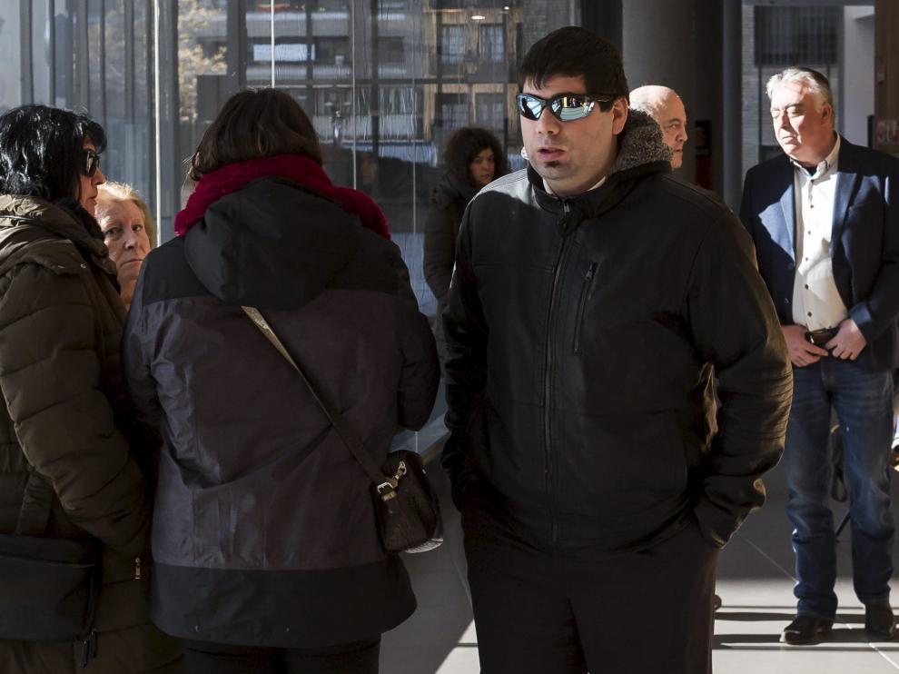 Saúl Plana, en los pasillos de la Audiencia de Zaragoza, antes de entrar al juicio.