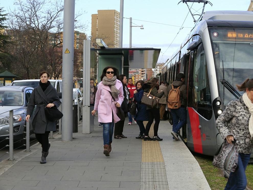 Imagen de la pasada huelga del tranvía.