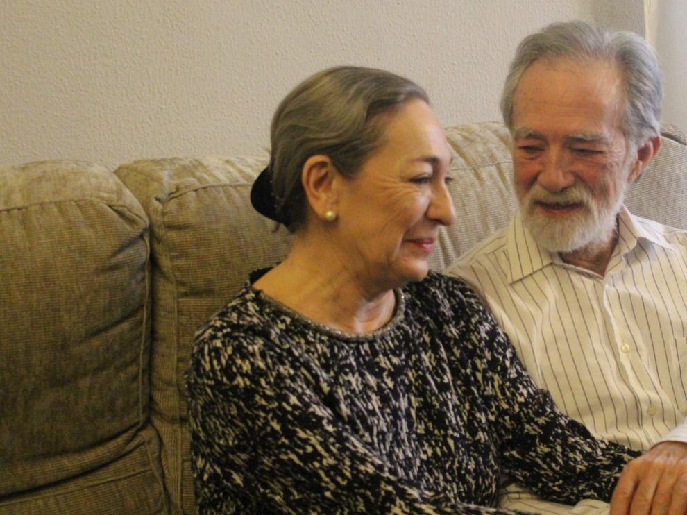 Luisa Gavasa y Mariano Anós, durante el rodaje