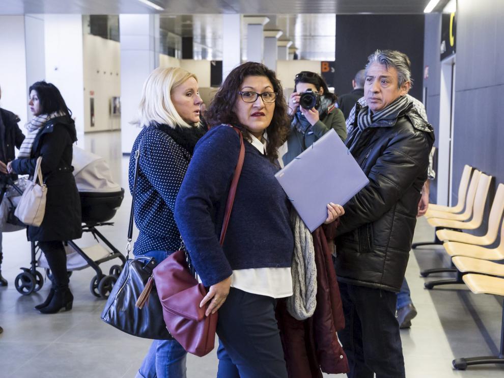 La acusada, durante la primera sesión del juicio, celebrada en febrero en la Ciudad de la Justicia de Zaragoza.