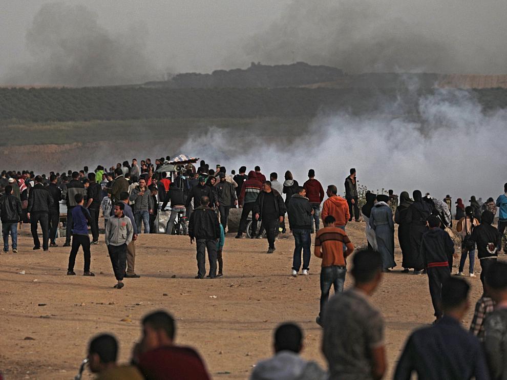 Manifestantes palestinos en la Marcha del Retorno
